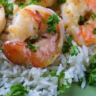 Shrimp in Gorgonzola Sauce.