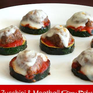 Healthy Zucchini & Meatball Pizza Bites.