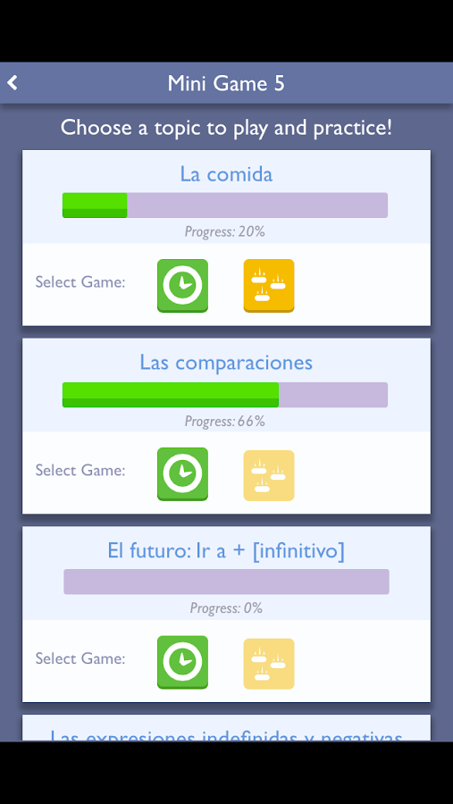 Practice Spanish: Mini-games- screenshot