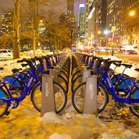 Bike rentals sit idle after a snow storm outside Central Park by Greg Bracco - City,  Street & Park  City Parks ( ny new york city central park water fall canon 5d mark iii 5d mark iii canon hdr, greg bracco, snow, greg bracco photography, , city at night, street at night, park at night, nightlife, night life, nighttime in the city )