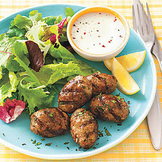 Grilled Spiced Pork Patties with Greens.