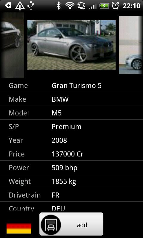 Gran Turismo Car Database - screenshot