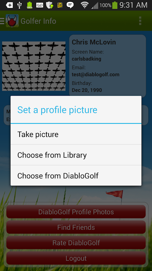 Diablo Golf Handicap Tracker - screenshot