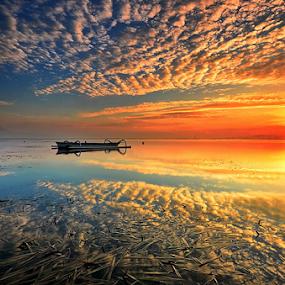 Reflections by Hendri Suhandi - Landscapes Cloud Formations ( clouds, karang, bali, sanur, sunrise, beach )