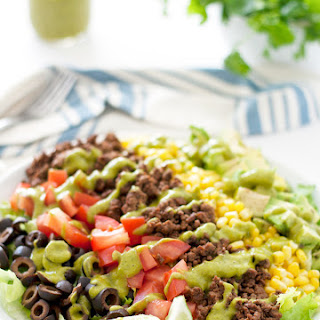 {skinny} Taco Salad With Avocado Cilantro Dressing