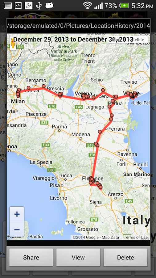 View Google Location History - screenshot