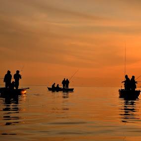 fishing on sunset by Ahmet AYDIN - People Street & Candids ( fishing on sunset,  )
