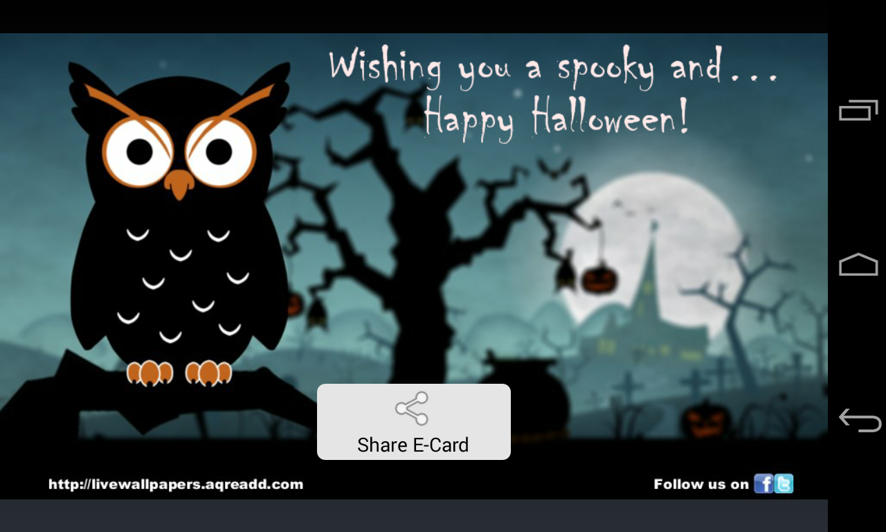 halloween greetings screenshot - Free Animated Halloween Cards