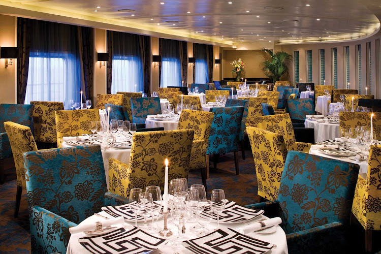 Experience sublime French cuisine in the elegant atmosphere of Seven Seas Voyager's Signatures Restaurant.