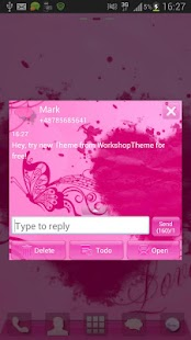 SMS Pro Theme Pink Heart - screenshot thumbnail