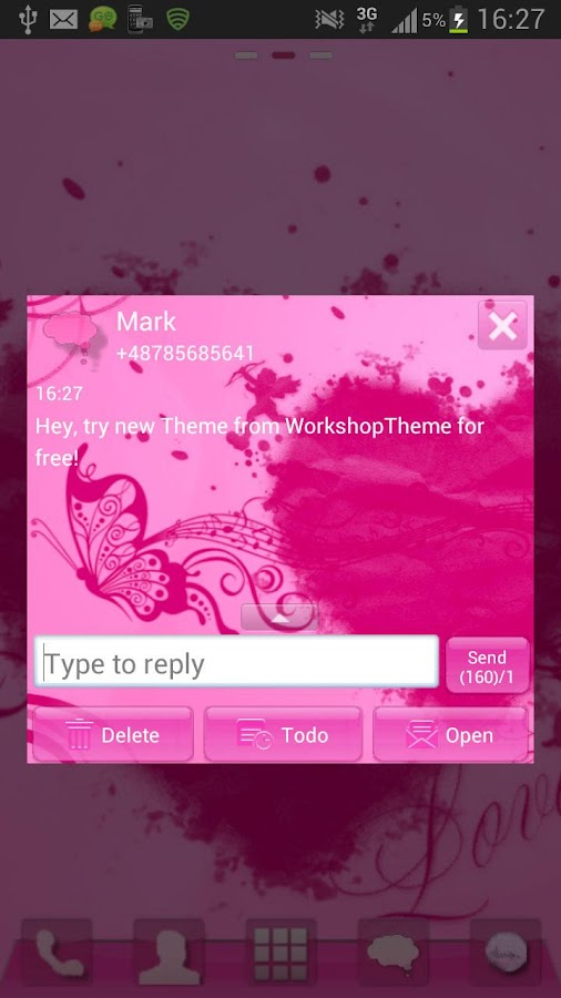 SMS Pro Theme Pink Heart- screenshot