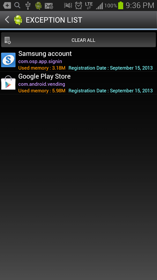 Android Task Manager Lite - screenshot