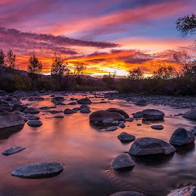 Hopscotch Rocks by Mike Lindberg - Landscapes Mountains & Hills ( reflection, desert, sierra nevada, eastern sierra, truckee, flow, truckee river, low water, reno, nevada, high desert, sierra, rocks, great basin, river )