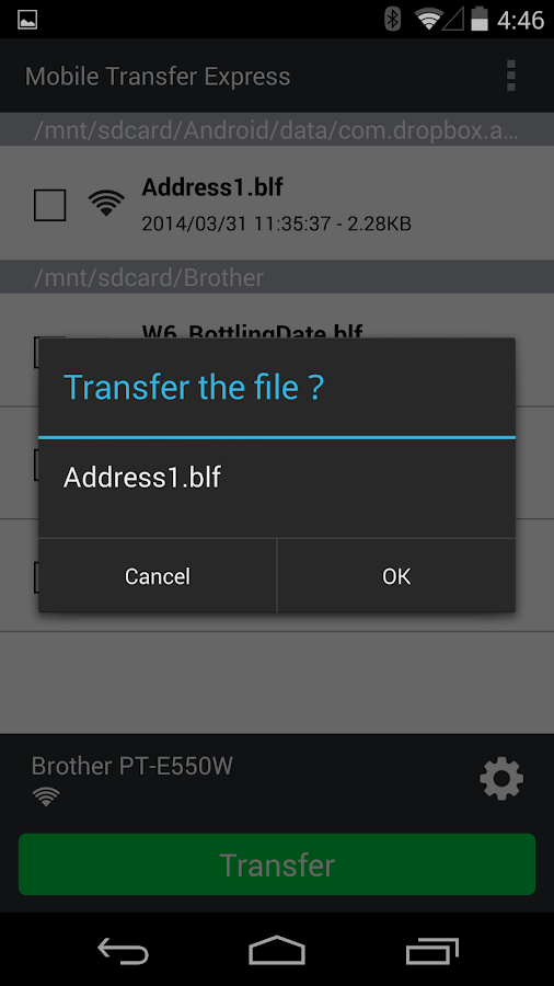 Brother Mobile Transfer Express- screenshot