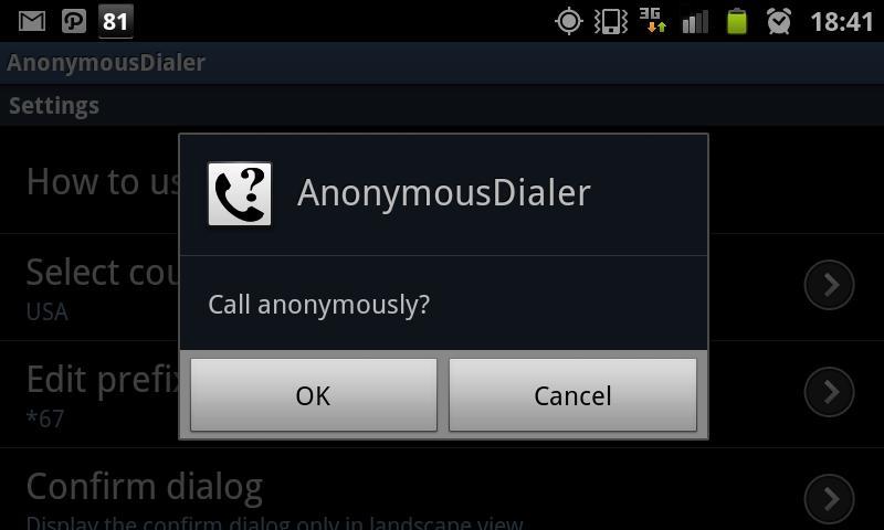 AnonymousDialer- screenshot