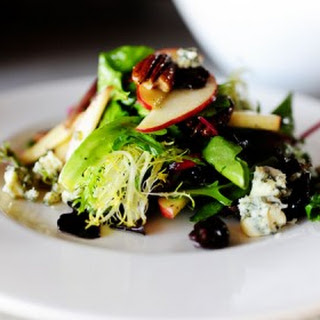 Apple, Pecan, and Blue Cheese Salad with Dried Cherries.