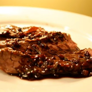 Skirt Steak with Red Wine Sauce.