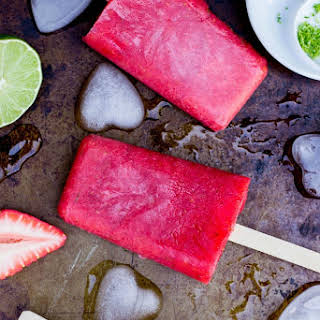 Strawberry Rhubard & Lime Popsicles.