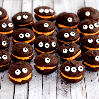 Mini Monster Chocolate Whoopie Pies with Orange Cream Filling.