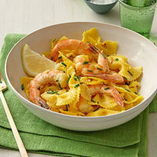 Spicy Saffron-Shrimp Pasta.