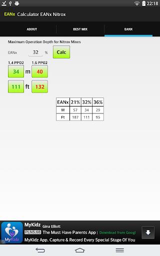 Calculator EANx Nitrox