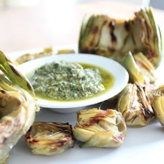 Grilled Artichokes with Creamy Mint Sauce