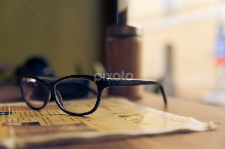 Glasses by Alex Narcis - Artistic Objects Clothing & Accessories ( window, glasses, menu, artistic object, table, coffee shop )