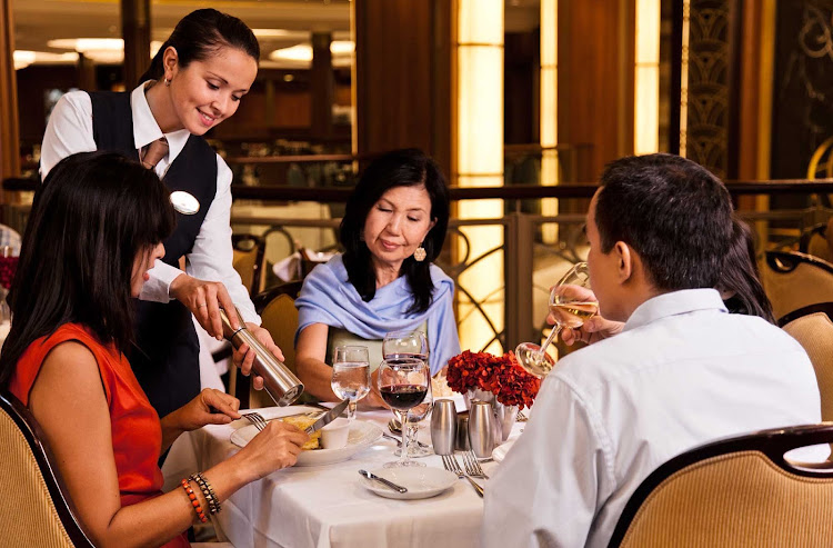 Dining options on Royal Caribbean cruises range from formal seating in the main dining room to more casual fare.