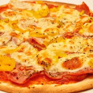 Ham, Caramelized Onion, & Gruyere Pizza.