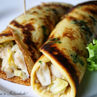 Crepes with Cod and Kale.