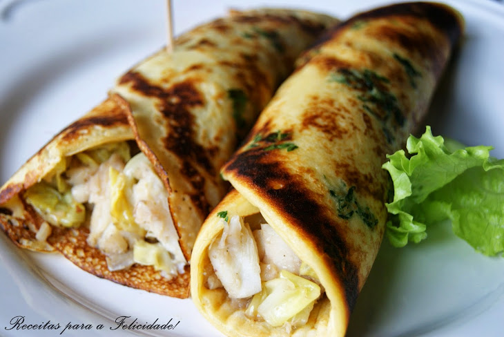 Crepes with Cod and Kale Recipe