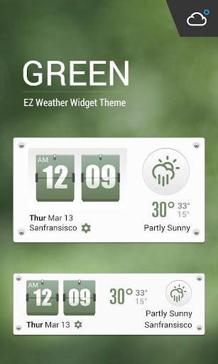 Green Flip Clock Style Weather