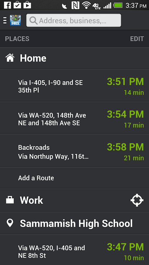 INRIX XD Traffic Maps & Alerts- screenshot