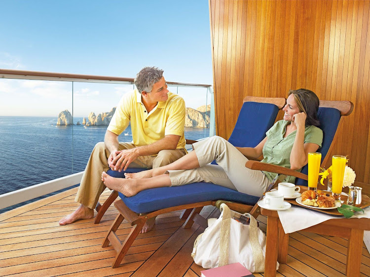 Room with a view: Guests get a private veranda to take in the passing parade of eye candy when they book a balcony stateroom aboard Princess Cruises.