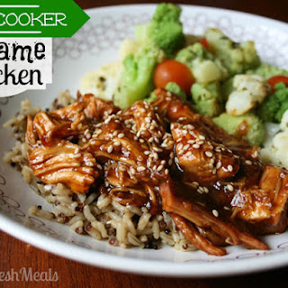 Sweet Slow Cooker Sesame Chicken.