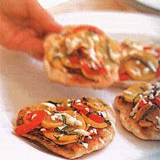 Grilled Smoked-Mozzarella and Yellow Squash Pizzettes.