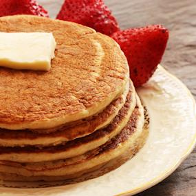 Pancakes by Vrinda Mahesh - Food & Drink Plated Food ( homemade pancakes, oatmeal pancakes, breakfast, pancakes stack, pancakes, pancakes with berries,  )