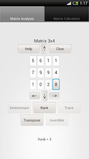 Matrix Calculator and Analysis