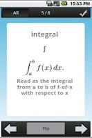 Screenshot of Math Symbol Flashcard Quiz