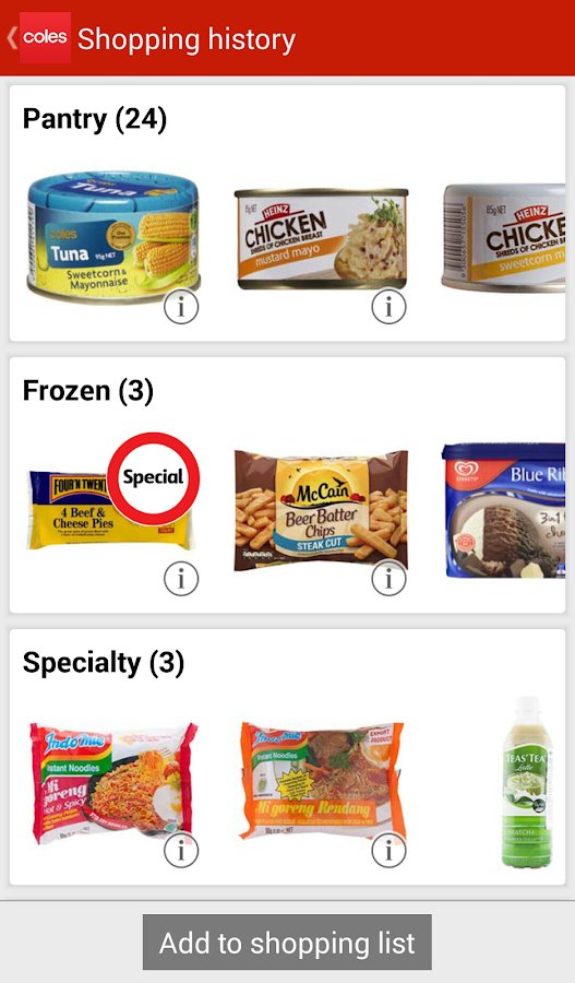 Coles App - screenshot