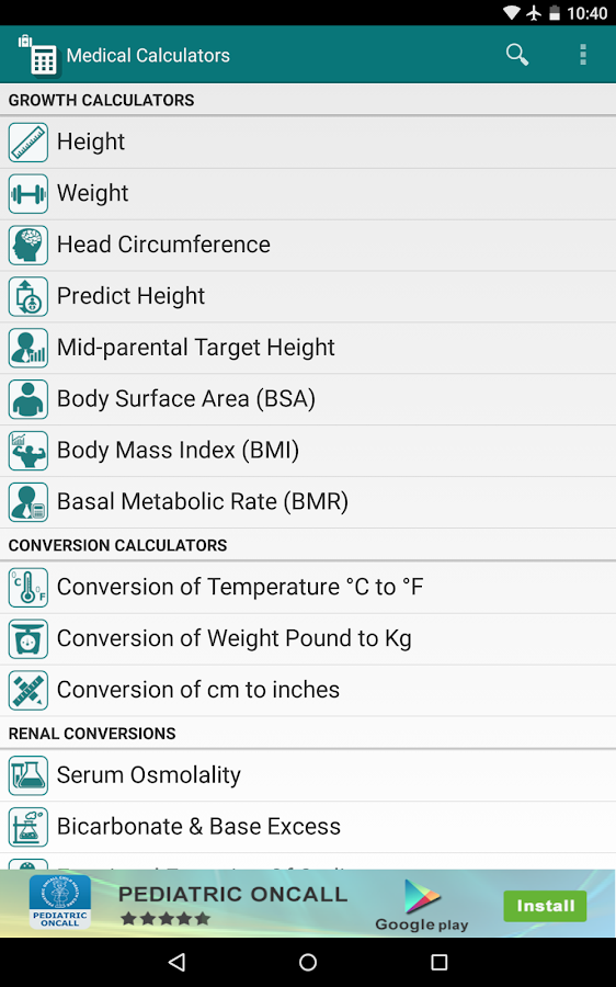 Medical Calculators- screenshot