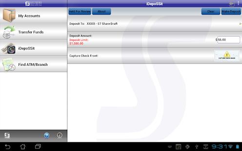 SSFCU Tablet Mobile Banking - screenshot thumbnail