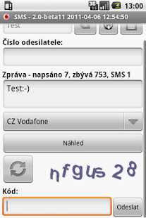 CZ SMS- screenshot thumbnail