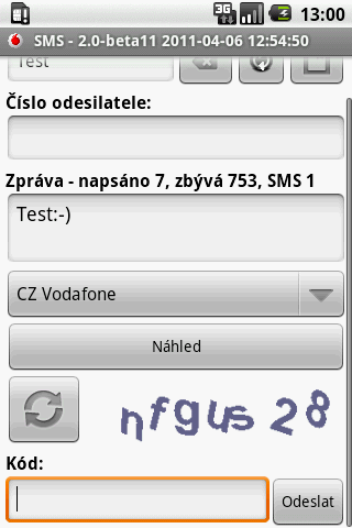 CZ SMS - screenshot