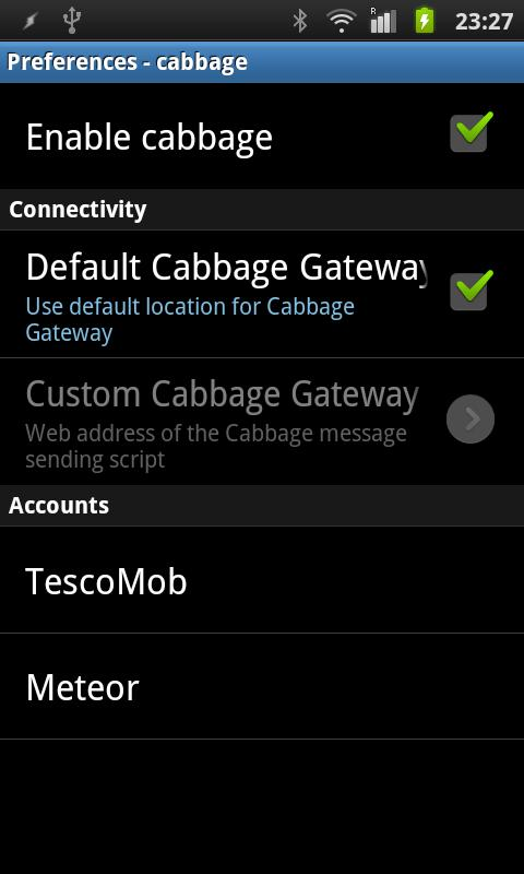 WebSMS: Cabbage Connector- screenshot