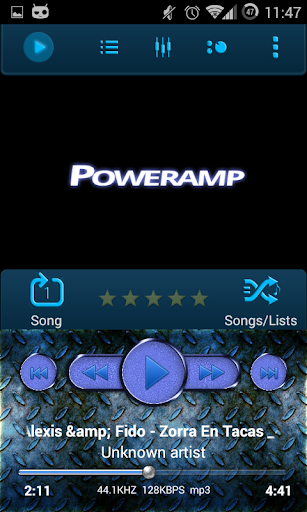 Poweramp Skin Blue Metal