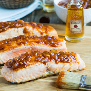 Salmon with Bourbon Peach BBQ Sauce.