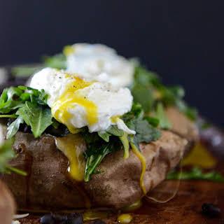 Black Bean, Arugula + Poached Egg Stuffed Sweet Potatoes.