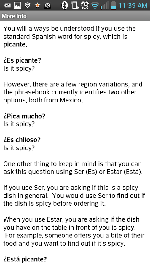My Spanish Phrasebook- screenshot