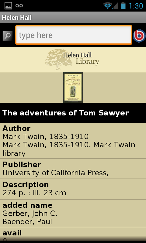Helen Hall Library- screenshot